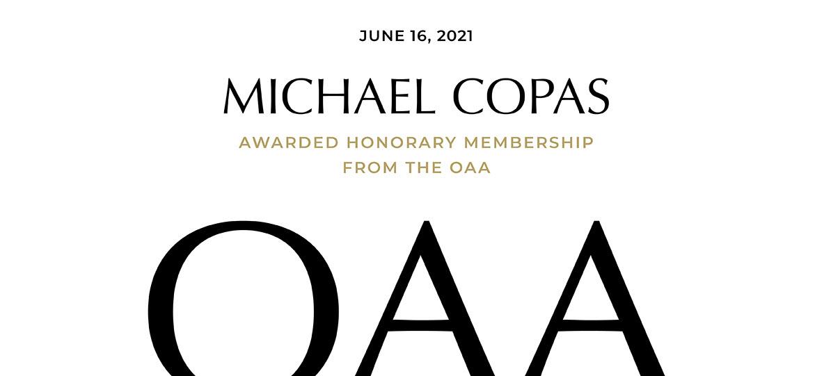 Statslog Founder Michael Copas Awarded OAA Honourary Membership